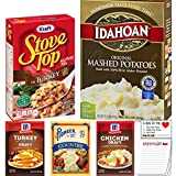 Instant Mashed Potatoes Stuffing and Gravy Variety Pack of 5 | Idahoan Mashed Potato | Stove Top Stuffing Turkey | McCormick Gravy Mix's | Snack Fun Shopping Pad Idahoan Instant Mashed Potato Flakes 13.75 ounces Stove Top Stuffing Mix for Turkey 6 ou...