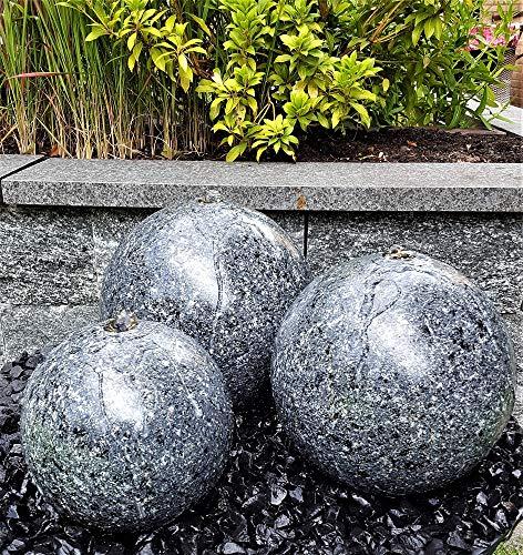 Kugelbrunnen 3er-Set 28/25/20 cm Granit anthrazit Komplettset Springbrunnen Gartenbrunnen Edelstahl LED