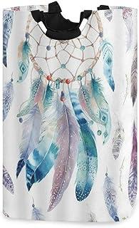 COFEIYISI Grand Organiser Paniers pour Vêtements Stockage,Dream Catcher Aquarelle Plume Rustique Vintage Turquoise Bleu Bl...