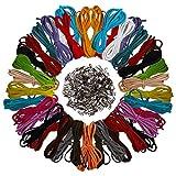Curtzy 40 Stück 1m x 3mm Faux Wildleder Schnur String mit 200 Stück Schnurenden - Leder Schnur...
