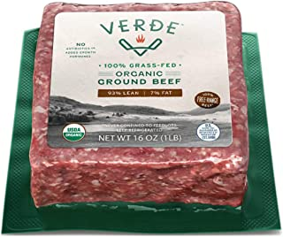 Verde Farms Organic 100% Grass-Fed Ground Beef 93/7, 1 lb