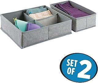 mDesign Organizador de tela – Set de dos piezas de cajones organizadores de tela – Perfectos cajones de tela para ordenar su armario o cómoda – Con 5 compartimentos – Color: gris