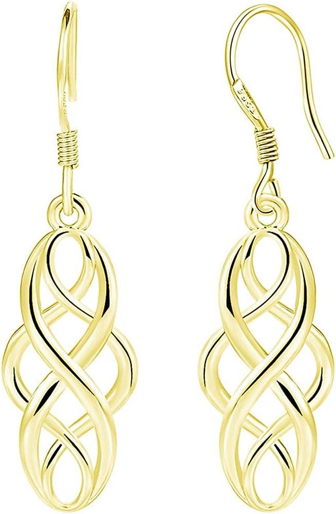 White Gold Plated Celtic Knot Braided Fishing Hoop Dangle Earrings