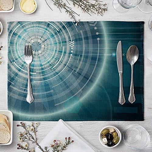 Clavie Ensemble de 4 Set de Table Rectangulaire Bleu Tissu en Coton et Lin 40x30cm Antidérapant Tapis de Table