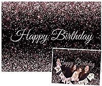 GooEoo 5x3ftお誕生日おめでとうパーティーの背景黒とローズゴールドピンクのボケスパンコールドット写真の背景きらびやかな水玉模様の家族のパーティーの誕生日の背景赤ちゃんの装飾ビニール素材