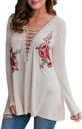 Auxo Mujer Blusas Blanca V Cuello Camisas Bordados de Flores ...