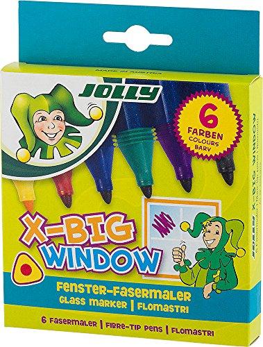 Jolly X-Big Window Fasermaler   Der Stift für Scheiben und Glasflächen   einfach wieder feucht von Glas abwischbar   6 Stück im Kartonetui