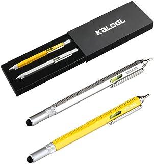 قلم قلم چند قلو Kalogl [2 بسته] قلم قلم ترکیبی 9-in-1 [کارکردهایی به عنوان قلم صفحه لمسی ، قلم Ballpoint ، حاکم 4 اینچی ، سطح ، پیچ گوشتی فیلیپس ، و Flathead] هدایا (نقره ای / زرد)