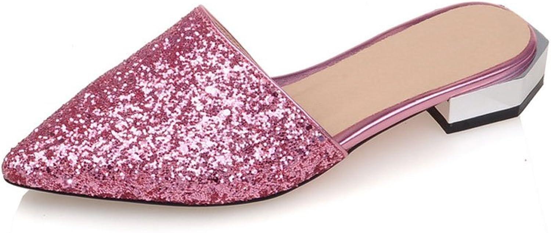 DoraTasia Casual Glitter Upper Slipping on Pointed Toe Summer Women's Slides Sandals