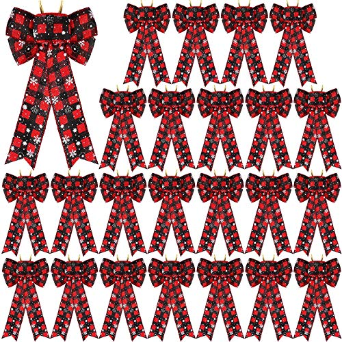 Aneco 24 Pack Christmas Buffalo Plaid Bows with Snowflake Printed Christmas Hanging Wreath Bows for Christmas Holiday Decoration, 5 x 7 Inches