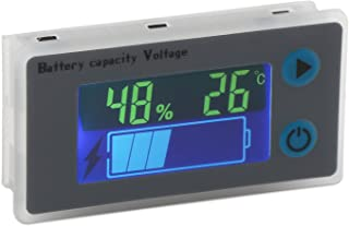Battery Monitor, DROK 10-100V Digital Battery Capacity Tester, Percentage Level Voltage Temperature Switch Meter Gauge 12V 24V 36V 48V LCD Display Marine RV Battery Power Indicator Panel