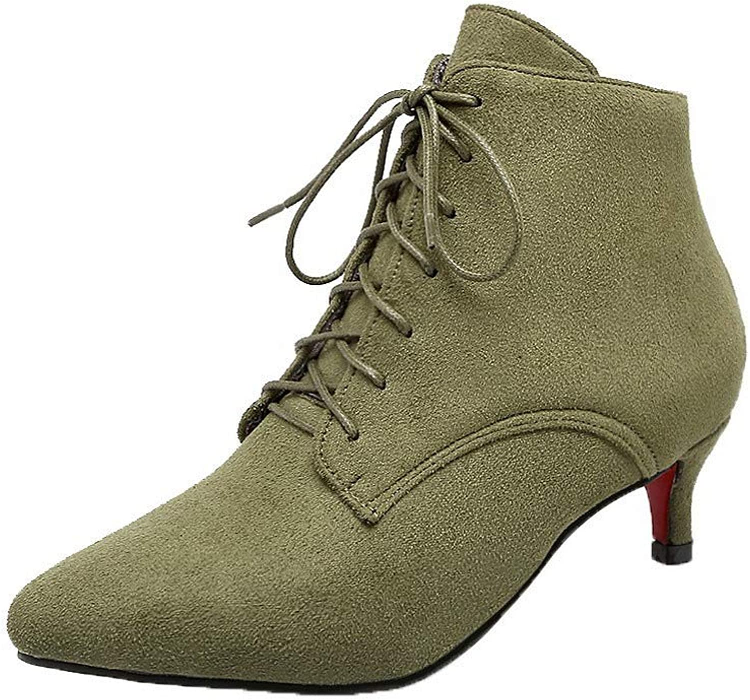 WeiPoot Women's Low-Top Solid Lace-Up Pointed-Toe Low-Heels Boots, EGHXH117033