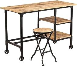 vidaXL Mangohouten Bureau met Inklapbaar Krukje Massief Computertafel Bureaus
