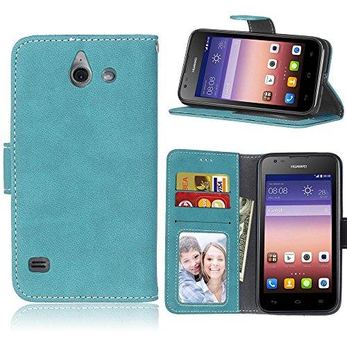 SATURCASE Huawei Ascend Y550 Hülle, Retro Mattiert PU Leder Flip Magnetverschluss Brieftasche Standfunktion Kartenschlitze Schützend Tasche Hülle Schutzhülle Handycover für Huawei Ascend Y550 (Blau)