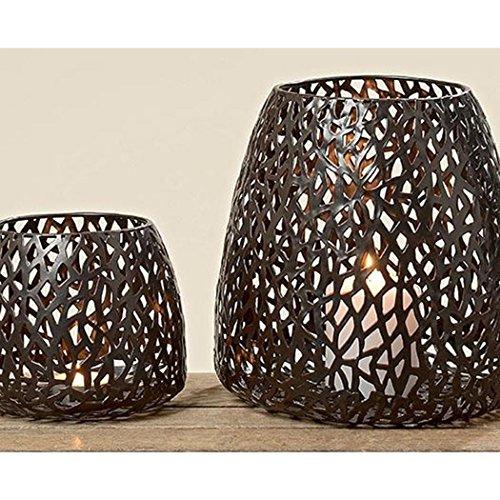 Ambia Home Windlicht, Braun, Höhe ca. 11 cm, Durchmesser ca. 14 cm, Metall