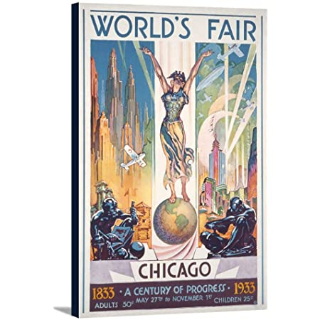Chicago World S Fair Poster Woman On Globe 24x36 Gallery Wrapped Stretched Canvas Posters Prints
