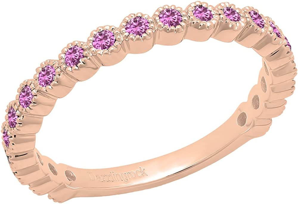 Dazzlingrock Collection 14K Round Pink Sapphire Eternity Stackable Anniversary Wedding Band, Rose Gold, Size 7