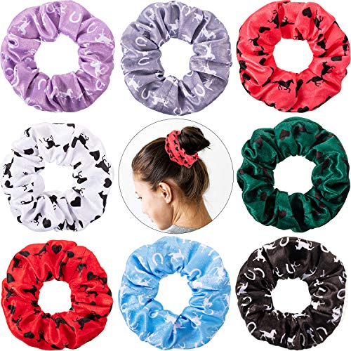 8 Pieces Silk Satin Horse Hair Scrunchies Horse Hair Accessories Horse Hair Ties Horse Race Accessories No Crease Horse Hair Elastics for Equestrian, Women, Girls