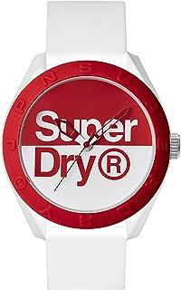 ساعة اوساكا بحركة انالوج كوارتز ومينا بيضاء وسوار من السيليكون بلونين الابيض والاحمر للرجال من سوبر دراي - SYG303WR