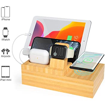 充電スタンド ワイヤレス充電器 充電ステーション USB充電器 同時充電 ケーブル収納ボックス スマホ充電台 iPhone/Apple Watch/iPad/Airpods Qi対応機種適用 (竹木製)