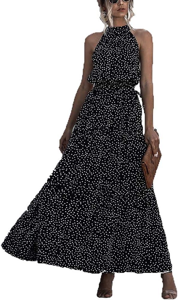 Guteidee Women's Casual Halter Neck Sleeveless Floral Print Polka Dot Long Beach Maxi Dress Loose Ruffle Sundress with Belt