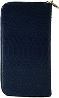 Made In Italy Genuine Leather Python Printed Woman Wallet Color Blue - Accessories