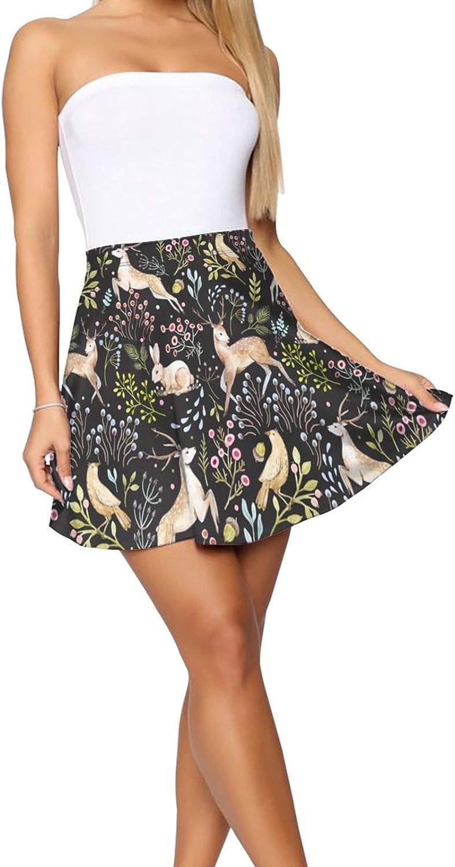 Flamingo On The Sunset Sea Women's Skater Skirt Elasticity Short Skirt