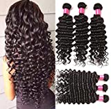 Brazilian Hair Deep Wave Remy Hair Extensions Human Hair (20 22 24) Inch 3-pack Bundles(100g/bundles) 10.58oz Total Natural Black Color Can be Dyed