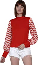 TEXCO Women Red Striped Full Sleeve Top