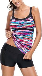 Sidefeel Women's Gorgeous Rainbow Print Tankini Swim Top
