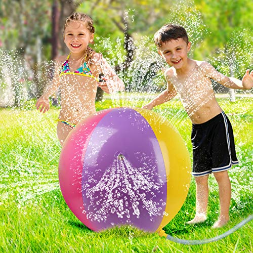 Water Toys Outdoor Kids Sprinkler Inflatable Ball Outside Game Spray Water Yard Backyard Play Set Summer Toys Gift for Toddlers Boys Girls Children Kids Age 3 4 5 6 7 Years Old