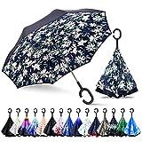 ZOMAKE Paraguas de Doble Capa Invertido, Paraguas Plegable Reversible con Protección contra Rayos UV, Resistencia con Viento, Mango en Forma de C para Mujer Hombre Coche(Lirios)