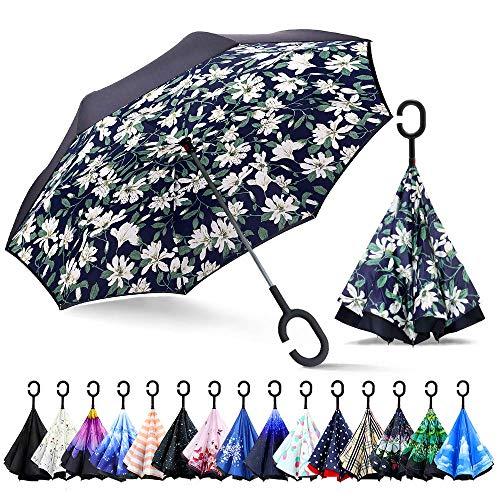 ZOMAKE Inverted Stockschirme, Innovative Schirme Double Layer, Winddicht Regenschirm, Freie Hand,Umgedrehter Regenschirm mit C Griff für Auto Outdoor (Lilien)