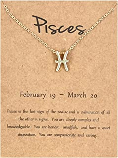 12 Zodiac Signs Necklace for Women Girls Constellation Pendant Necklace Horoscope Necklaces for Women 12 Zodiac Sign Neckl...