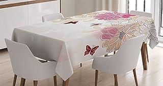 ABAKUHAUS Grunge Nappe, Fleurs de Printemps Papillon, Linge de Table Rectangulaire pour Salle à Manger Décor de Cuisine, 1...