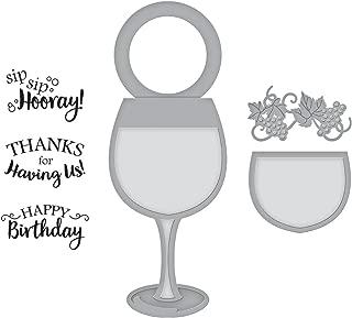 Spellbinders Wine Glass Bottle Tag Stamp & Die Set