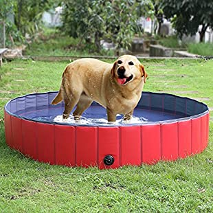 "FEMOR Foldable Pet Dogs Cats Paddling Pool Puppy Swimming Bathing Tub (M/120 × 30cm / 47""D x 12""H )"