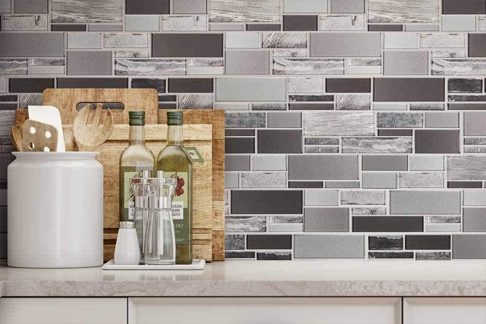Mto0238 Modern Linear Gray Glossy Foil Glass Mosaic Tile Amazon Com