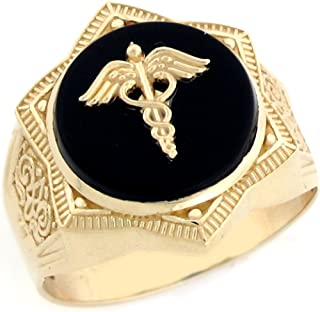 Jewelry Liquidation 10k Real Gold Star of David Caduceus Doctor Staff Onyx Mens Ring