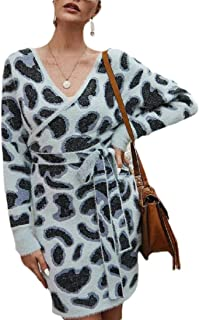 Women's Sexy Leopard V Neck Long Sleeve Wrap Bodycon Pencil Mini Sweater Dresses with Belt