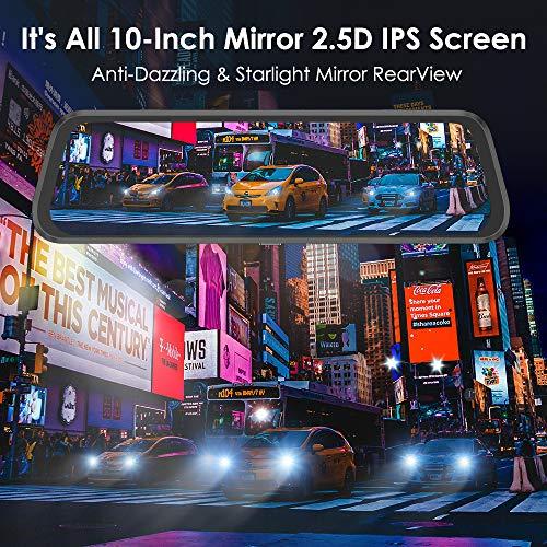 """AZDOME 10"""" Spiegel Dashcam mit Rückfahrkamera, Parkhilfe, ADAS, Super Nachtsicht, Loop-Aufnahme, G-Sensor, Parkmonitor Autokamera Dual Lens[1080P, 170°Vorne; 720P, 150°Hinten](PG02)"""
