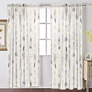 INGBAGS Watercolor Boho Arrows and Feathers Voile Window Long Sheer Curtain 2 Panels Cat with Butterfly Scenery Print Tulle Polyester for Door Window Room Decoration 55x84 Inch,Set of 2