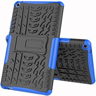 TenYll case For Huawei MediaPad T3 8.0, Shockproof Tough Heavy Duty Armour Back Case Cover Pouch With Stand Double Protective Cover Huawei MediaPad T3 8.0 Case -Blue