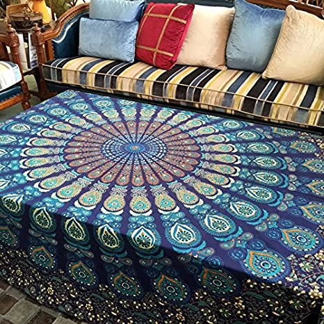 Blue Mandala Tapestry Round Yoga Mat Boho Beach Throw Blanket Wall Hanging Decor