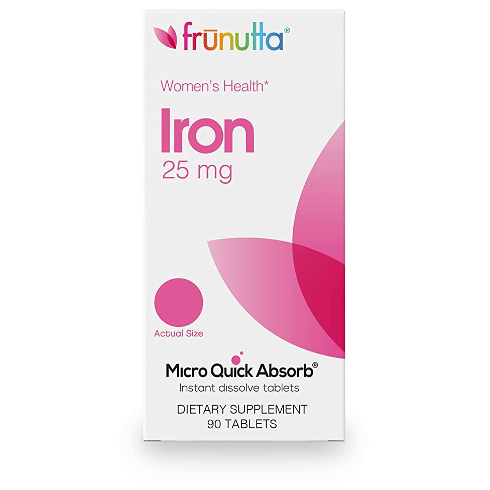 Frunutta Women's Health Iron 25 mg Under The Tongue Instant Dissolve Tablets, 3 Month Supply, Proudly Made in USA