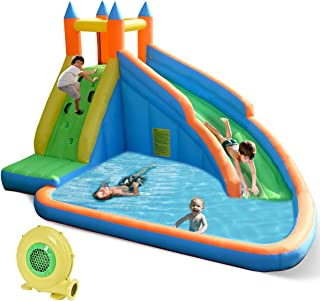 Costzon Inflatable Slide Bouncer, Water Pool with Long Slide, Climbing Wall, Including Oxford Carry Bag, Repairing Kit, Stakes, Castle Bounce House for Kids (with 680W Air Blower)