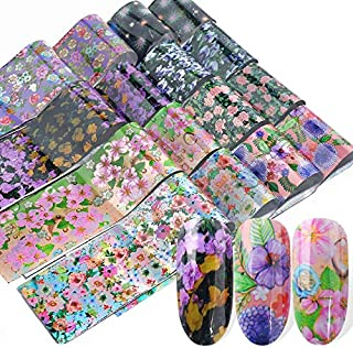 16pcs Holographic Nail Foil Polish Transfer Sticker Mixed Flower Floral Design Slider Nail Decals Set Summer Adhesive Tips