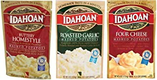 Idahoan Mashed Potatoes Variety Bundle : Buttery Homestyle, Four Cheese, Roasted Garlic (4 Ounce x 3 Pack)