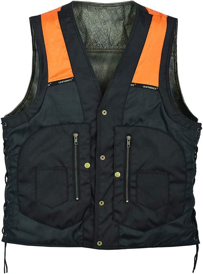 Chaleco de cuero de piel de vacuno de grano superior marr/ón antiguo con 12 bolsillos Chaleco de cuero de motorista vintage con bolsillos profundos