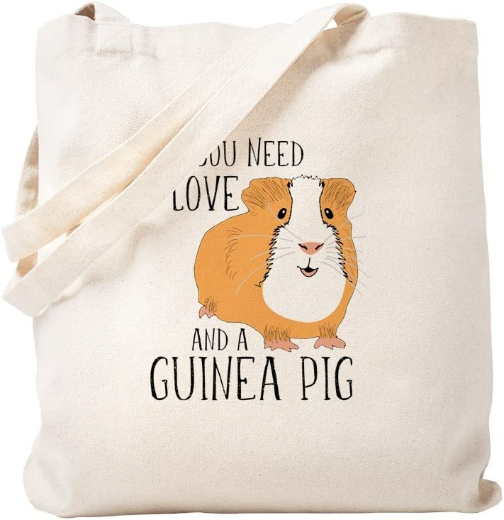 CafePress All You Need Is Love And A Guinea Pig Tote Bag Natural Canvas Tote Bag, Reusable Shopping Bag